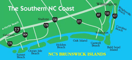 Oak Island Map Oak Island NC Vacation NC Beaches - Map of north carolina coast